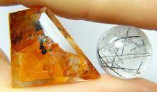 Dendrite 59.15ct tourmalinated quartz, Brazil, black needles 2 stones, fancy cut
