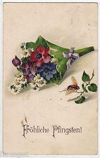 Fröhliche Pfingsten  Maikäfer Blumenstrauß AK 1926