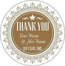 "24 Personalized 1.65"" Round Wedding thank you Labels Laser Printed Stickers"