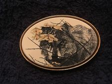 Barlow Solid Brass Belt Buckle - Prowling Wolf On The Hunt