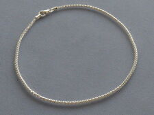"NEW ITALIAN STERLING SILVER ANKLE BRACELET-10""-SHIMMERY POPCORN STYLE-ITALY 925"