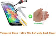 Ultra thin Transparent Jelly Back Cover + Tempered Glass For LG L BELLO D335