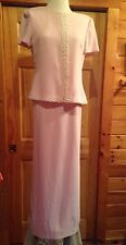 Donna Ricco Evening Gown Long 10 Pink Pearl Trim SS MOB MOG Formal Polyester