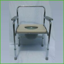 Folding Commode Chair Heavy Duty Steel Bedside Toilet Seat, 300 Pounds Capacity