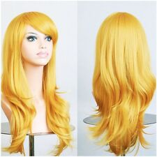 Curly Wigs Long Hair White Black Blonde Brown Grey Red Costume Cosplay Full Wig