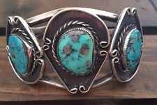 """GORGEOUS TALL 1 3/4""""  VINTAGE NAVAJO MORENCI TURQUOISE & STERLING CUFF 51 GRAMS"""