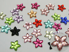 500 Mixed Color Acrylic Flatback Faceted Star Rhinestone Gems 10mm