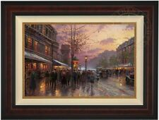 "Thomas Kinkade BOULEVARD LIGHTS PARIS 18"" x 27"" LE G/P Canvas (Burl Frame)"