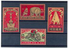 Vintage Japan Japanese China Asian 4 Matchbox Labels with Elephants 1910s