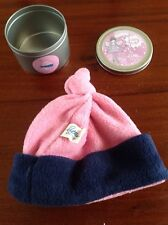 Little Shrimp Pink & Navy Fleece Baby Hat Fairy Pot 0-6 Months