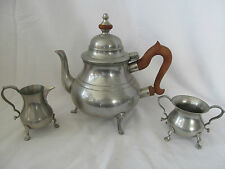 KIRK STIEFF PEWTER COLONIAL WILLIAMSBURG COFFEE TEAPOT WITH SUGAR & CREAMER