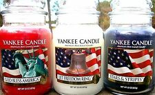 SET OF 3 Yankee Candle GOD BLESS AMERICA~LET FREEDOM RING~STARS & STRIPESy