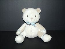 Carter's Boy Tan Brown Blue Stitch Teddy Bear Herringbone Bean Bag Plush Toy