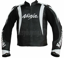 Men White Black Kawasaki Ninja Motorcycle Racing Biker Leather Jacket with hump