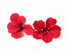 2 x Red Hibiscus Flower Hair Pins Clips Tropical Beach Bridal Wedding Hawaii 193