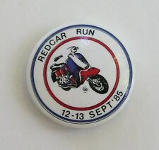 VINTAGE 80s UK scooter rally pinback badge Lambretta Red Car Run mod Vespa