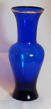 Vintage Lindshammar  Swedish Blue Glass Vase - With Label. 23.5 cm Height