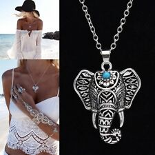 New Women Fashion Silver Plated Elephant Design Pendant Necklace Indian Jewelry