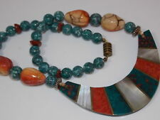 Turquoise Blue Carved Spice Red Sponge Coral Agate MOP Inlay Necklace 7k 30