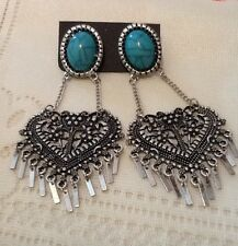 Mexican Aztec Earrings Antique Silver Big Turquoise Oval Bead Chandelier Dangly