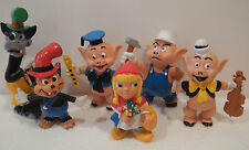 RARE Disney The 3 Little Pigs COMPLETE Set 6 PVC Figures Big & Little Wolf + Red