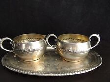 Vintage E.P.Copper Lead Mounts Hostess Plate with Creamer and Sugar Bowl