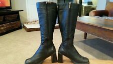 BISOU BISOU WOMENS Black Leather Knee High Boots With Chunky Heel Size 7