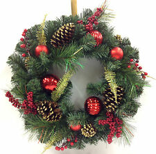 Christmas Canadian Pine Wreath. Red Ornaments, Glitter Pinecones, Berries.  20""