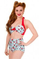 Banned Blindside Cherry Bikini Halter Top Medium Approx Size 12 Uk Summer 1950's