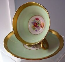 Vintage Taylor & Kent  Cup & Saucer Longton England Green Gold Roses
