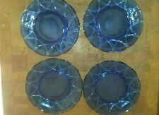 Set of 4 Vintage Blue Cobalt  Depression Glass Plates