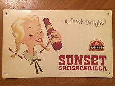 Tin Sign Vintage Sunset Sarsaparilla A Fresh Delight! Fallout