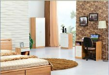 High Gloss White and Oak Trio Bedroom Set