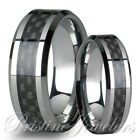 His & Her Silver Tungsten Carbide Men Black Carbon Fiber Women Wedding Band Ring