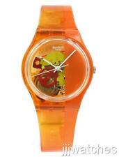 New Swatch Women Orange Bloody See-Thru Dial Watch 34mm GO116