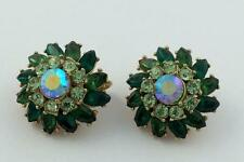 VINTAGE CROWN TRIFARI SHADES OF GREEN RHINESTONE EARRINGS IRIDESCENT CENTER