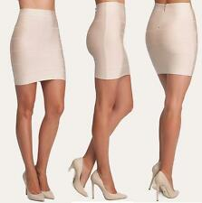 BEBE BEIGE BANDAGE SOLID STRETCH SKIRT NEW NWT $79 XSMALL XS
