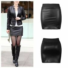 WOMENS LADIES ELASTIC WAISTBAND WET LOOK SHORT PENCIL MINI SKIRT PLUS SIZE 8-26