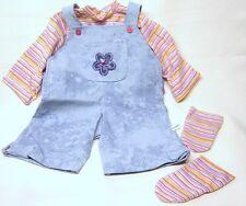 Schildkröt Puppenkleidung, Puppen Latzhose mit Streifen Shirt, für 60 cm Puppen