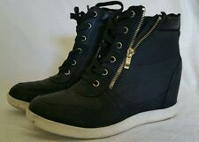 """Fashion Womens Shoes Lace up High Top Sneakers 3"""" Wedge Hidden Heels Gold Zipper"""