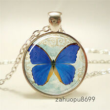 Vintage new butterfly Gift Cabochon Silver plated Glass Chain Pendant Necklace.