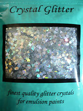 Crystal Glitter for emulsion paint, Holographic Hearts creating a Silver Rainbow