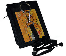 ID Holder With Neck Strap Genuine Leather New Black