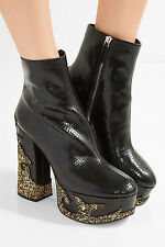 SOLD OUT New in BOX Stasha MARC JACOBS Snake Glitter Black Platform Boots 8.5 39