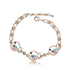18K Rose Gold Plated Made With Swarovski Crystal Cute Colourful Fish Bracelet