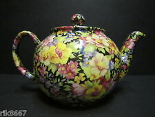 1 Heron Cross Pottery Summer Meadow Black Chintz English 3 Cup Tea Pot or 2 mugs