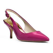 MICHAEL KORS Slingback Kelsey Kitten Fuschia Patent Leather Pointed Pump 7.5 New
