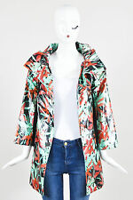 KIDS Lanvin Petite Red Green Silk Blend Floral Print Drawstring Raincoat SZ 12Y