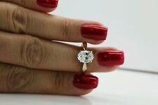 1ct Solitaire 14k solid gold oval man-made diamond engagement  ring