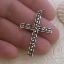 VINTAGE LRG SOLID SILVER MARCASITE CROSS PENDANT QUALITY
